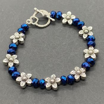 Blue Iridescent Bead and Antique Silver Flower Bead Bracelet
