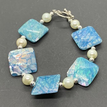 Blue iridescent Crackle Bead and White Pearl Bracelet
