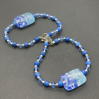 Blue Marble and Blue Faceted Bead Bracelet