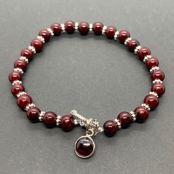 Burgundy Bead Back with Burgundy Jasper Charm