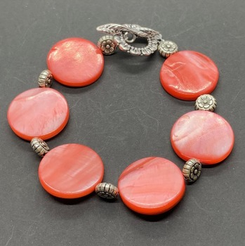 Coral Coin Shell Bead and Antique Silver Flower Bead