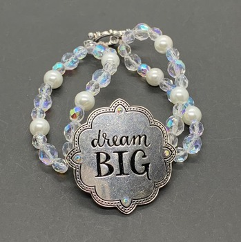 """Crystal Czech Bead and White Pearl """"""""Dream Big"""" Bracelet"""