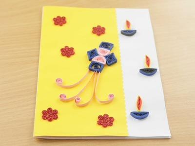 Diwali Greeting Card Making Idea With Paper Quilling