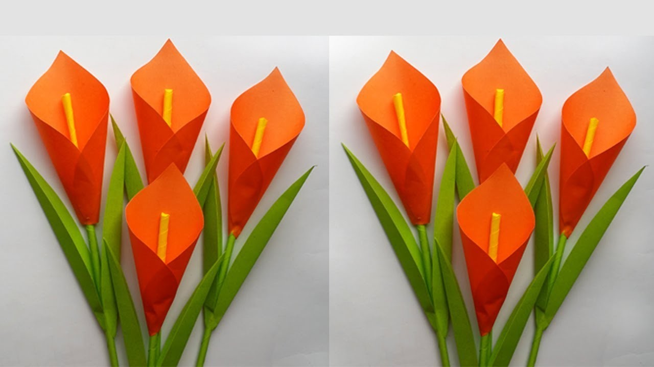 DIY: Paper Flower!!! How to Make Beautiful Calla Lily with Colour Paper!!!