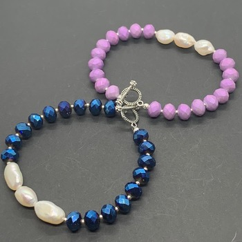 Faceted Bead and Ivory Pearl Bracelet in Various Colors