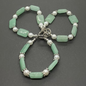 Green Bead and White Pearl Bracelet