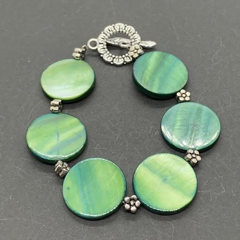 Green Coin Shell Bead and Antique Silver Flower Bead Bracelet