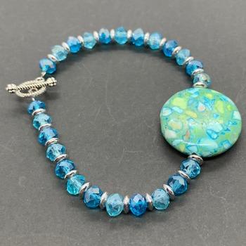 Green Mosaic and Aqua Bead Bracelet