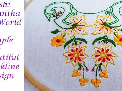 Hand Embroidery Neckline Design by Nakshi Kantha world