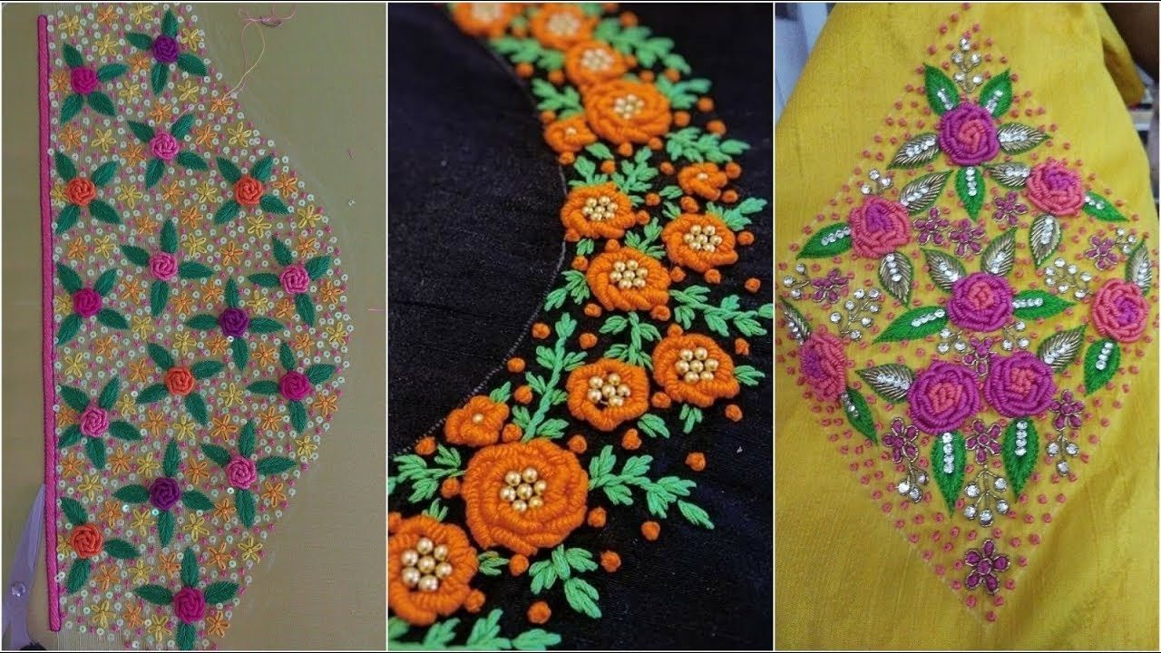 Hand Embroidery Saree Blouse Embroidery Designs Beautiful Flower Designs