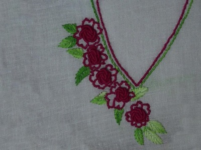 Hand Embroidery Work : Brazilian Embroidery : Neckline Embroidery