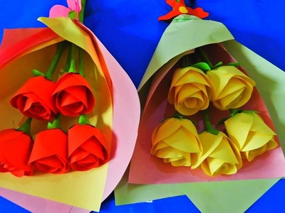 How To Make Paper Flower Bouquet With Paper Rose