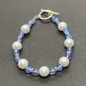 Iridescent Czech Bead and White Pearl Bracelets in Various Colors