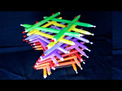 Making Beautiful 3D Pen Holder.Flower Vase Using Waste Pen || Best out of waste projects