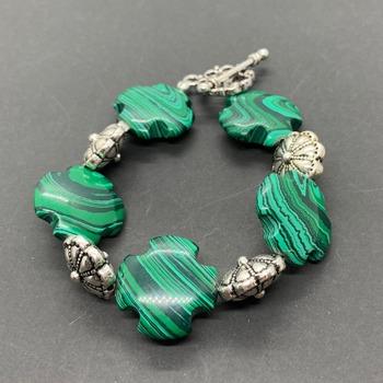 Malachite Cross and Antique Silver Flower Bead Bracelet