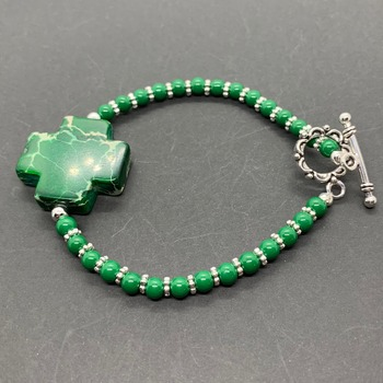 Malachite Cross and Silver Bead Bracelet
