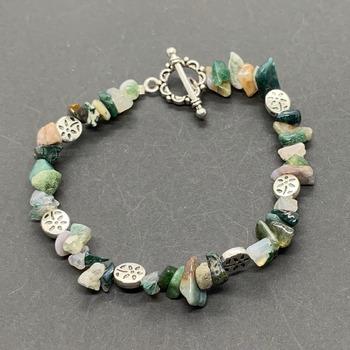 Multi-Green Jasper Chip and Silver Flower Bead Bracelet