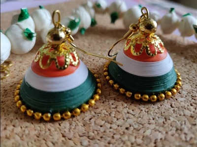 Paper quilled tricolor jhumkas for Independence day