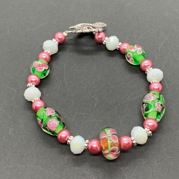 Pink and Green Flower Bead Bracelet