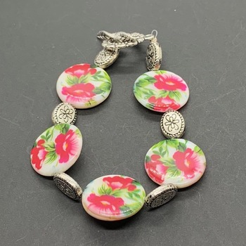 Pink Flower Coin Shell Bead and Antique Silver Flower Bead Bracelet