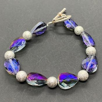 Purple Iridescent Teardrop and Silver Bead Bracelet