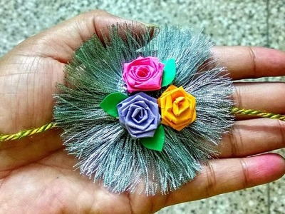 Rakhi making ideas With Silver lase and paper flowers
