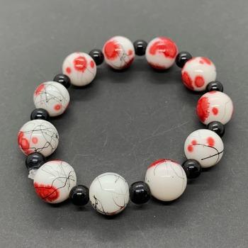 Red Blossom Bead and Black Jasper Bead Stretchy Bracelet