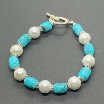 Turquoise Barrel Bead and White Pearl Bracelet