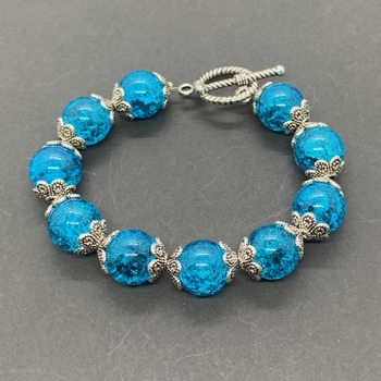 Turquoise Crackle Bead with Caps Bracelet