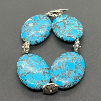 Turquoise Mosaic Bead and Antique Silver Flower Bead Bracelet