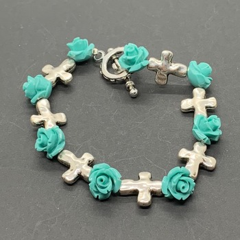 Turquoise Rose and Silver Cross Bracelet