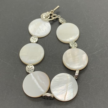 White Coin Shell Bead and Silver Flower Bead Bracelet