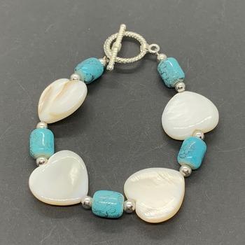 White Shell Heart Bead and Turquoise Barrel Bead Bracelet
