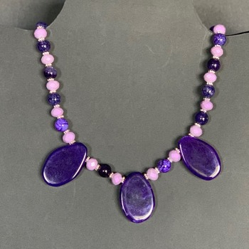 Amethyst Bead and Lavender Bead Necklace with 3 Purple Agate Pendants