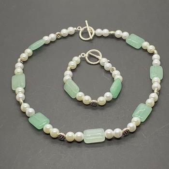 Aqua Bead and White Pearl Necklace/Bracelet Set