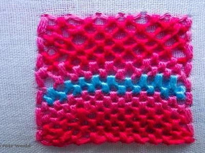 Basic Hand Embroidery Part - 43   Trellis Stitch
