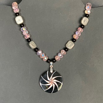 Black Jasper and Pink Faceted Bead Necklace with Black Jasper Shell Pendant
