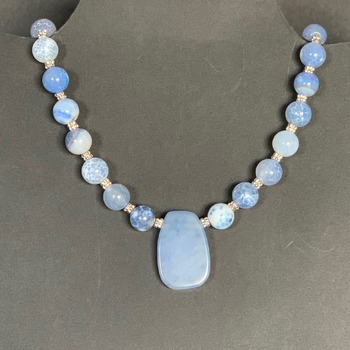 Blue Crackle Agate Bead Necklace with Blue Stone Pendant