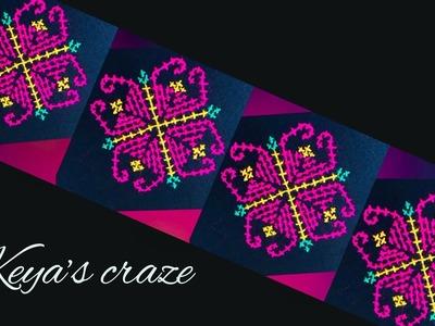 Cross stitch flower hand embroidery tutorial for beginners | #Handembroidery, #হাতেরকাজ,