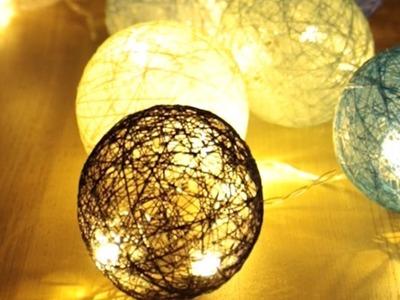 【DIY】Cotton Ball Lights*【インテリアDIY】糸で作る照明「コットンランプ」を手作り♡