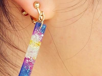 【レジンDIY】宇宙柄の手作りアクセサリー。トリミングイヤリング| Handmade galaxy trimming earring