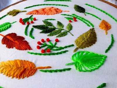 Hand Embroidery : 11 Types Leaf For Beginners By Nakshi Katha.