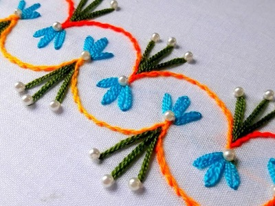 Hand Embroidery Design: lazy daisy with stiam stitch for border design.