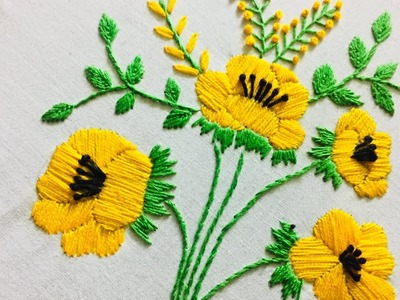 Hand Embroidery flower design with satin stitch by nakshi design art