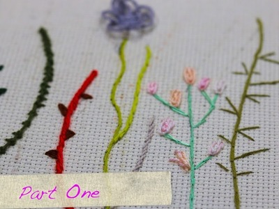 Hand embroidery for beginners -  Stems & Branches stitches-step by step Part 1