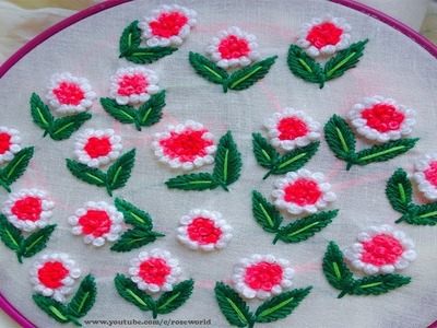 Hand Embroidery For Dress |French knot and running stitch flower design