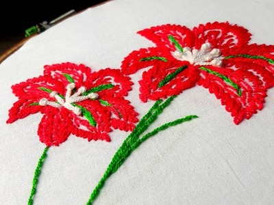 Hand Embroidery :Hibiscus flower design lazy daisy with feather stitch.