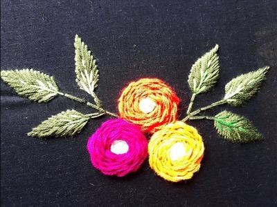 Hand Embroidery Rose Flower design | Beautiful flower design