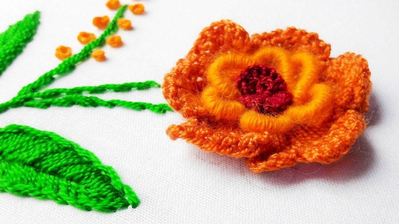 Hand Embroidery: rose flower design by nakshi katha.