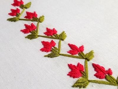 Hand Embroidery : Saree border line design .